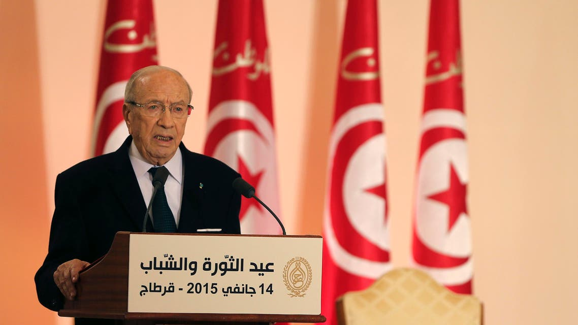 Tunisia's President Beji Caid Essebsi speaks during celebrations marking the fourth year anniversary of the revolution at the Carthage Palace in Tunis January 14, 2015. (Reuters)