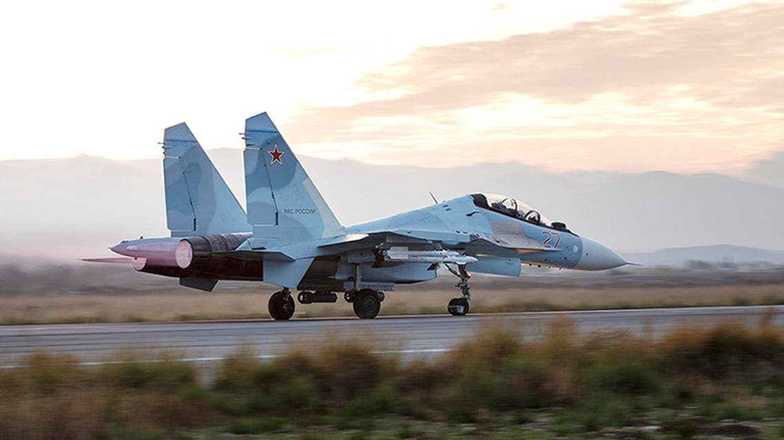 This photo taken on Friday, Dec. 18, 2015 and provided by the Russian Defense Press Service, shows a Russian Su-34 bomber taxiing out at the Hemeimeem air base in Syria. Russia has been carrying out an air campaign in Syria since Sept. 30. (Vadim Savitsky/Russian Defense Ministry Press Service via AP)