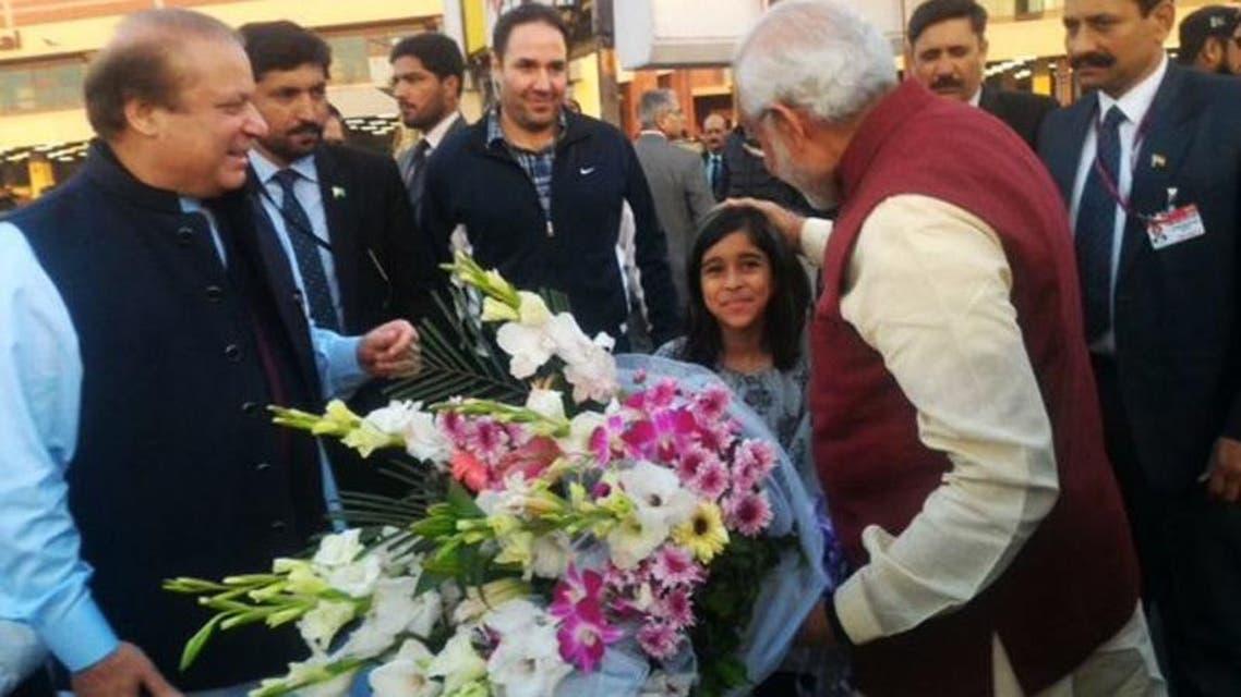 PM Nawaz Sharif and Modi at Lahore