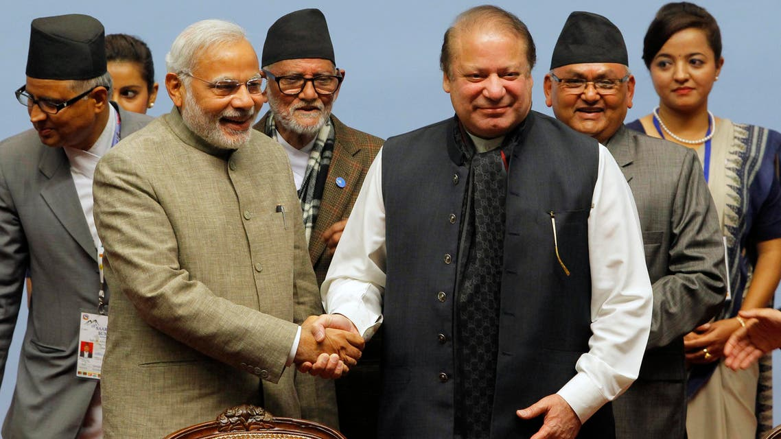 Pakistani Prime Minister Nawaz Sharif, right, and Indian Prime Minister Narendra Modi shake hands during the 18th summit of the South Asian Association for Regional Cooperation (SAARC) in Katmandu, Nepal, Thursday, Nov. 27, 2014.