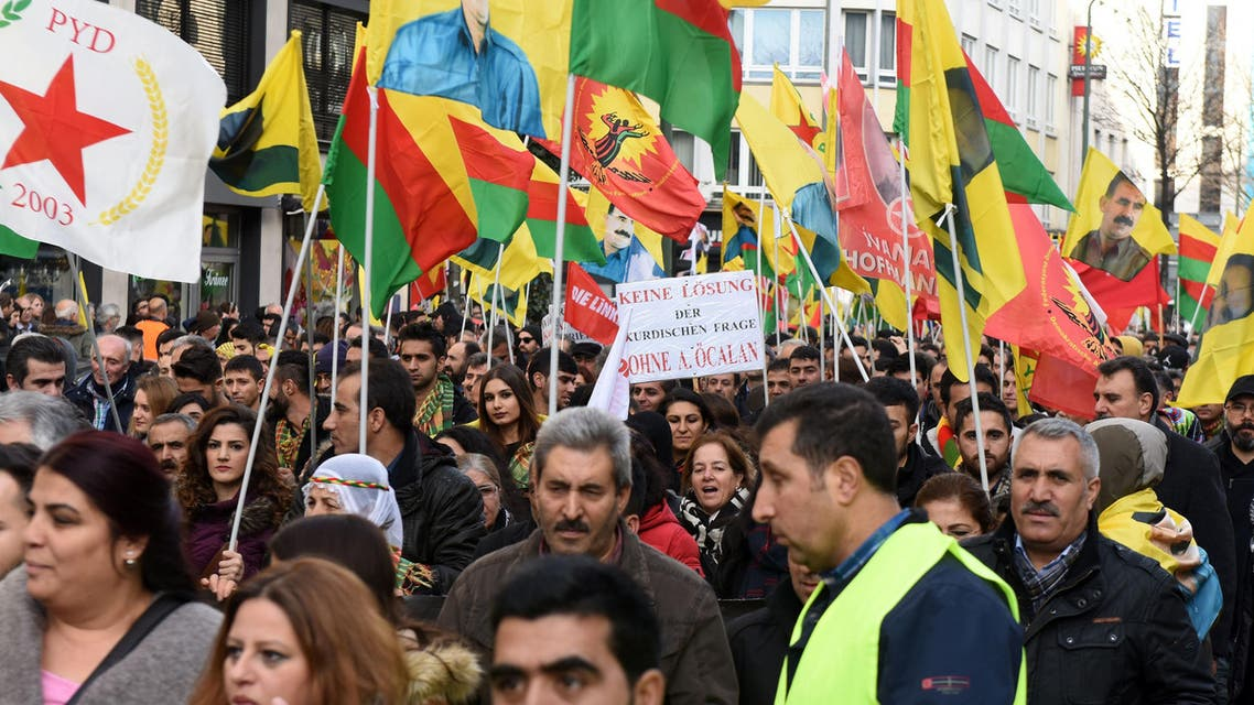 Some 15,000 people take part in a protest march against the latest offensive by the Turkish army against the Kurds in Duesseldorf, western Germany on December 26, 2015. (AFP)