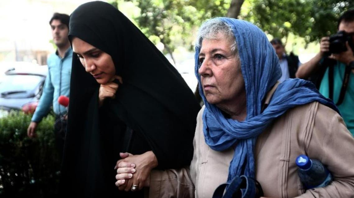 Mary Rezaian (R), the mother of detained Washington Post correspondent Jason Rezaian and his wife Yeganeh Salehi, pictured on August 10, 2015 in Tehran, were allowed to visit him for several hours in Evin prison (AFP )
