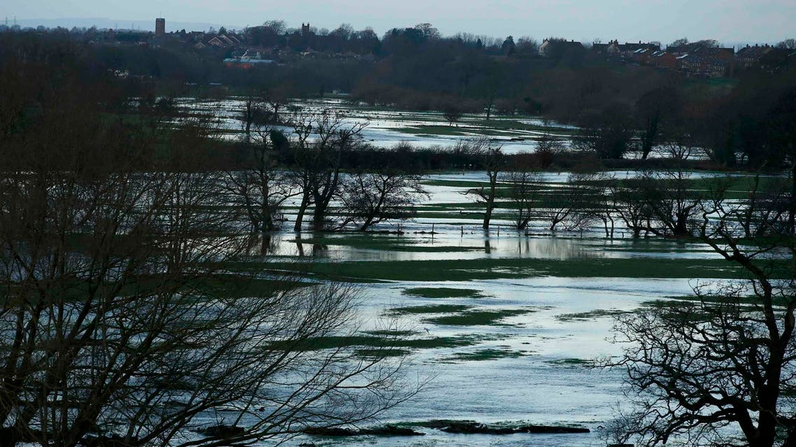 Flooded fields are seen on the outskirts of Carlisle, northern England. (Reuters)