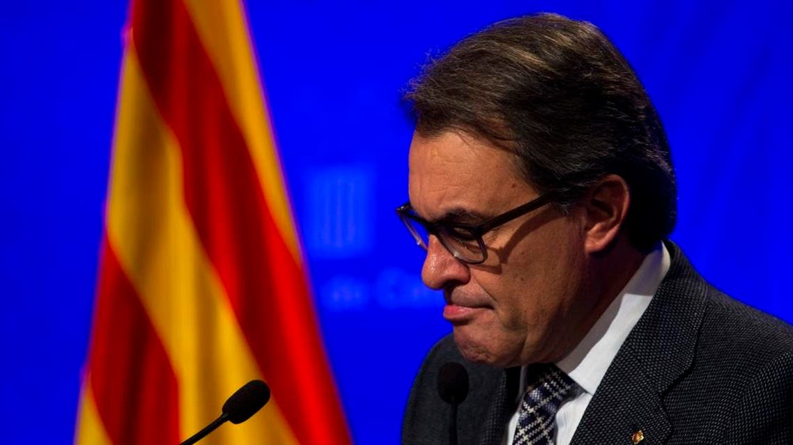 Acting regional President Artur Mas pauses during a press conference at the Generalitat Palace in Barcelona, Spain, Tuesday, Nov. 24, 2015 | AP