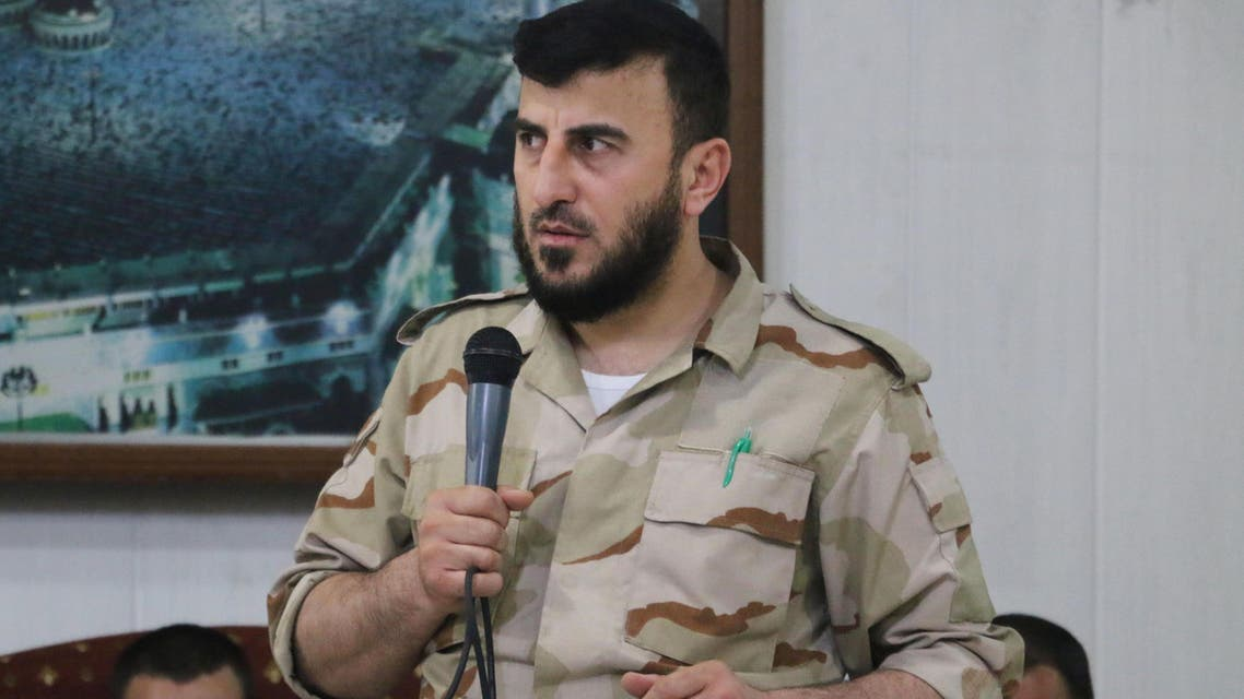 Zahran Alloush, head of the Jaish al-Islam (Islam Army) Syrian rebel group, speaks during the wedding of a fighter in the group on July 21, 2015. (AFP)