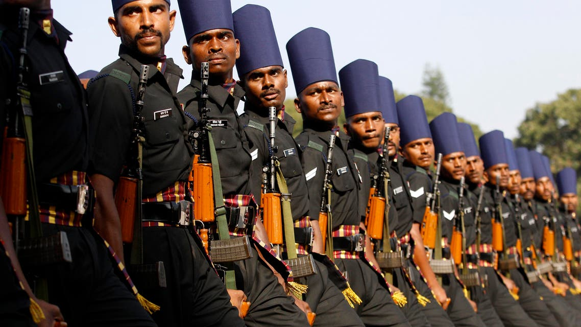 A contingent of Indian army soldiers participate in a ceremonial parade during the 235th anniversary celebrations of the Madras Engineer Group in Bangalore, India, Saturday, Dec. 19, 2015. (AP)