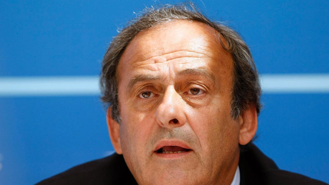 FILE - In this Aug. 28, 2015 file photo UEFA President Michel Platini delivers his speech during a press conference after the soccer Europa League draw ceremony at the Grimaldi Forum, in Monaco. (AP Photo/Claude Paris, file)