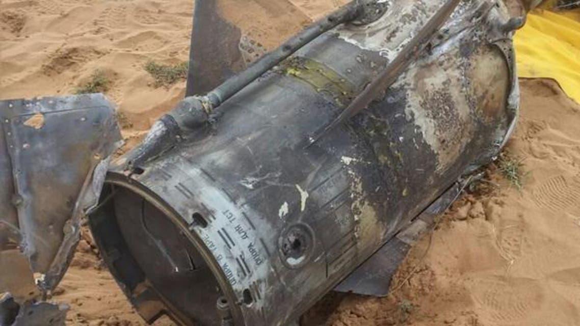 حطام صاروخ حوثي أسقطته الدفاعات السعودية - صورة أرشيفية
