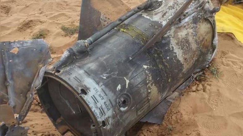حطام صاروخ سابق أسقطته الدفاعات السعودية
