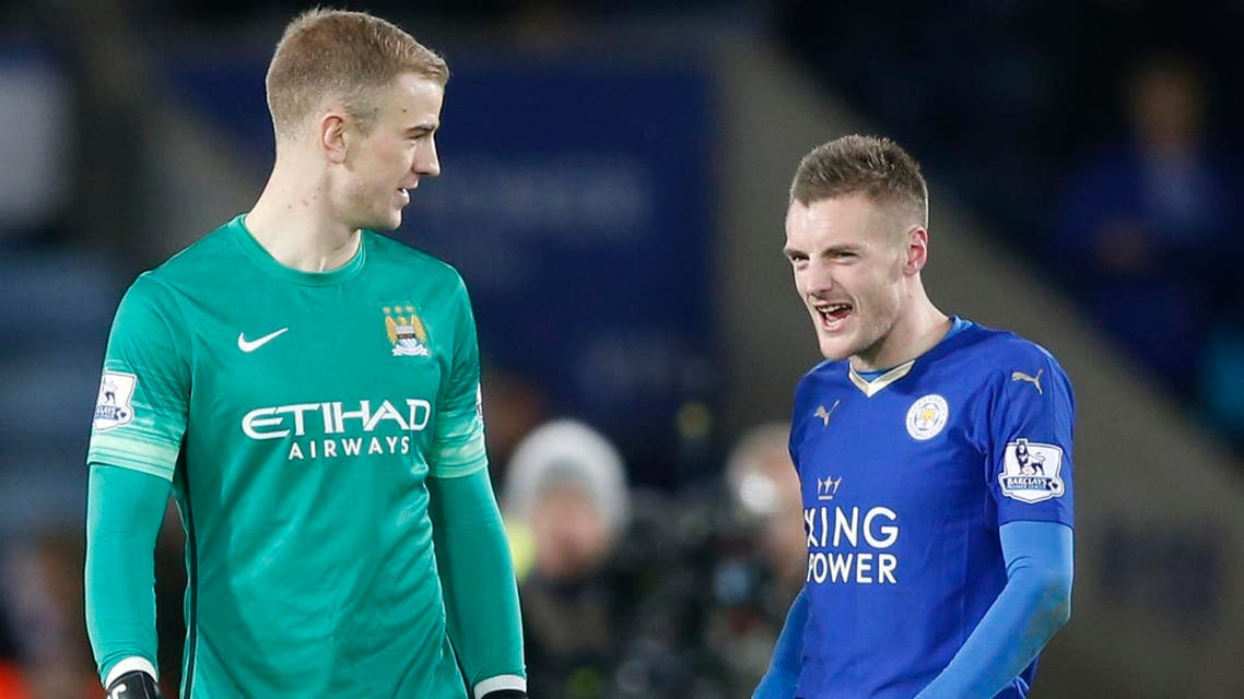 "Football Soccer - Leicester City v Manchester City - Barclays Premier League - King Power Stadium - 29/12/15 Manchester City's Joe Hart with Leicester City's Jamie Vardy at the end of the game Action Images via Reuters / Carl Recine Livepic EDITORIAL USE ONLY. No use with unauthorized audio, video, data, fixture lists, club/league logos or ""live"" services. Online in-match use limited to 45 images, no video emulation. No use in betting, games or single club/league/player publications. Please contact your account representative for further details."