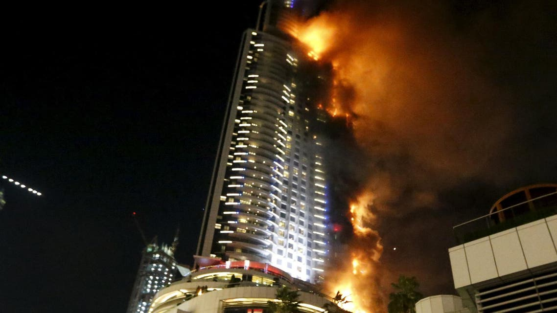 A fire engulfs The Address Hotel in downtown Dubai in the United Arab Emirates December 31, 2015. (Reuters)