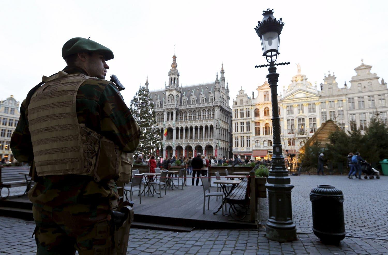 A Belgian soldier patrols on Brussels' Grand Place, Dec. 30. (Reuters)