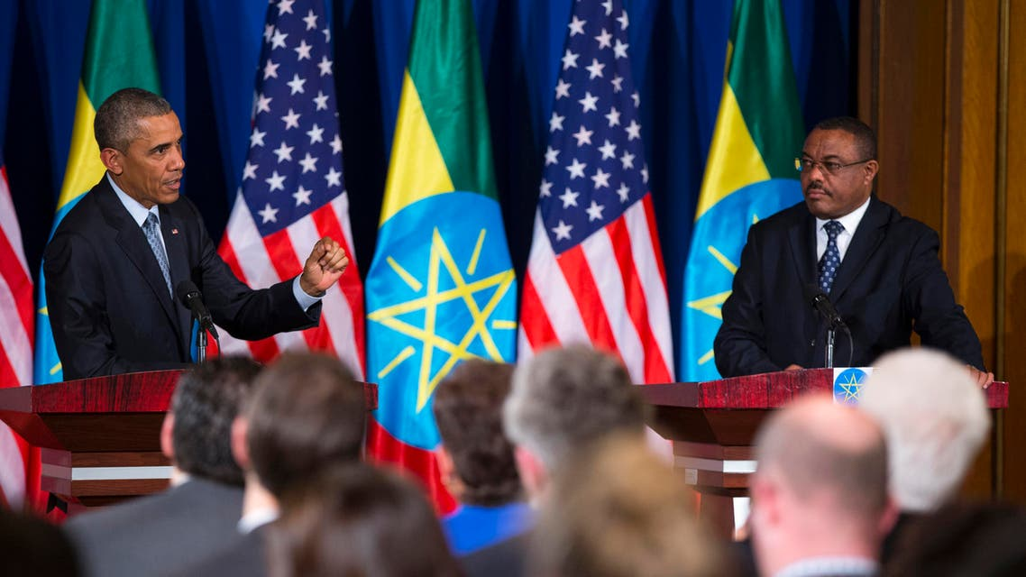 President Barack Obama speaks during a joint news conference with Ethiopian Prime Minister Hailemariam Desalegn, , on Monday, July 27, 2015, at the National Palace in Addis Ababa. Obama is the first sitting U.S. president to visit Ethiopia. (AP