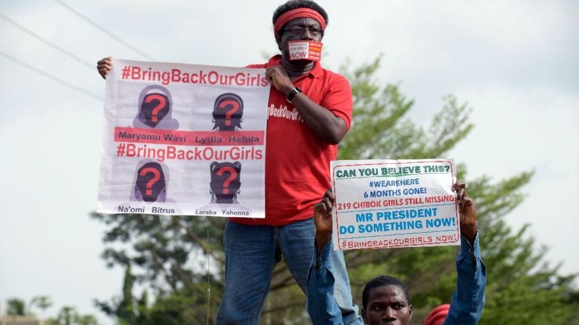Supporters of the Bring Back Our Girls campaign during a demonstration in the Nigerian capital Abuja on October 14, 2014 (AFP)