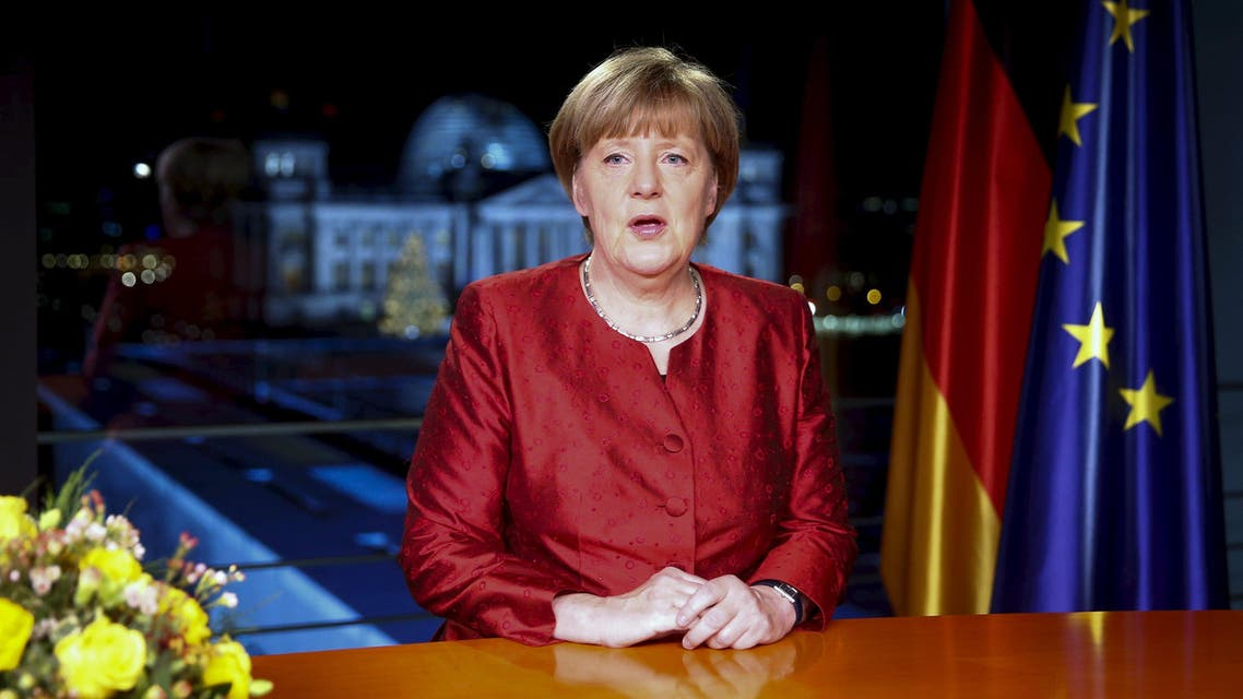 German Chancellor Angela Merkel poses after recording her New Year's speech in the Chancellery in Berlin, Germany, December 30, 2015. Reuters