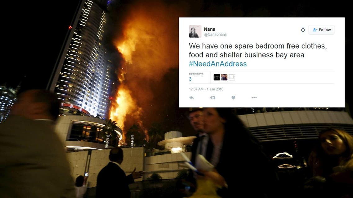 The hashtag #NeedAnAddress was kicked off around 10pm local time on Thursday, merely minutes after The Address Hotel made headlines around the world after catching fire. (Reuters)