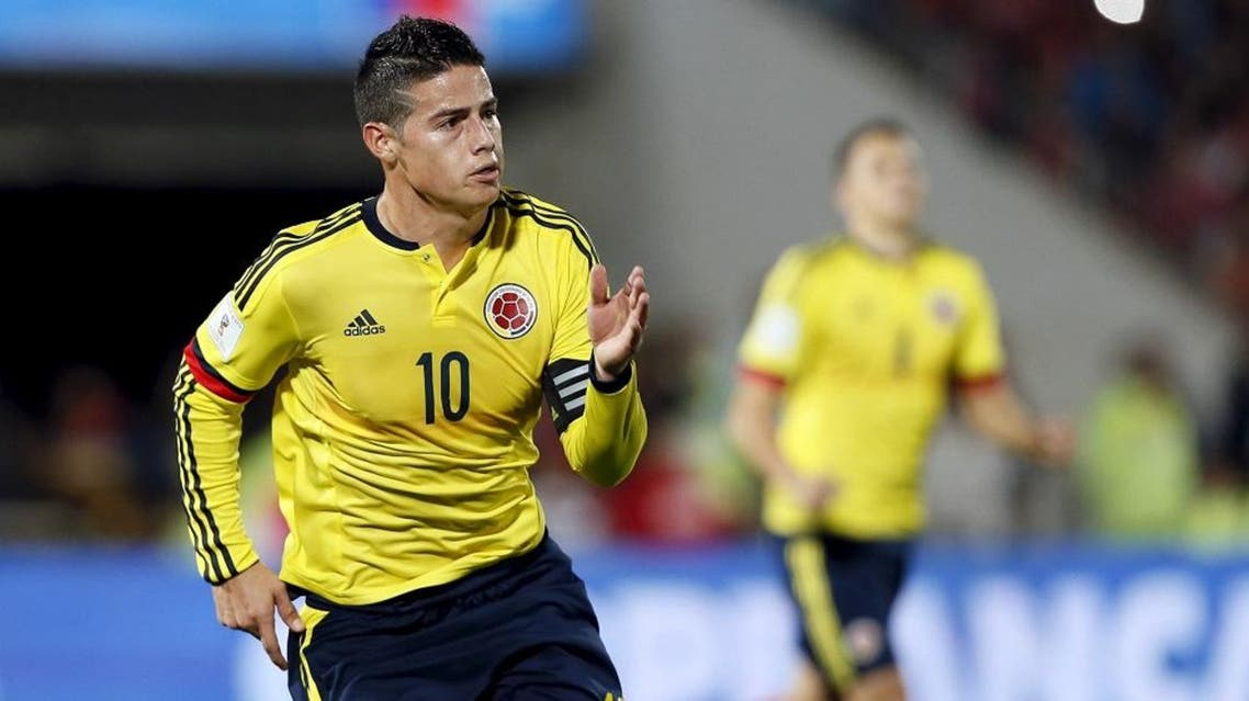 Colombia's James Rodriguez celebrates a goal against Chile during their 2018 World Cup qualifying soccer match at the national Julio Martinez stadium in Santiago, Chile, November 12, 2015 | Reuters
