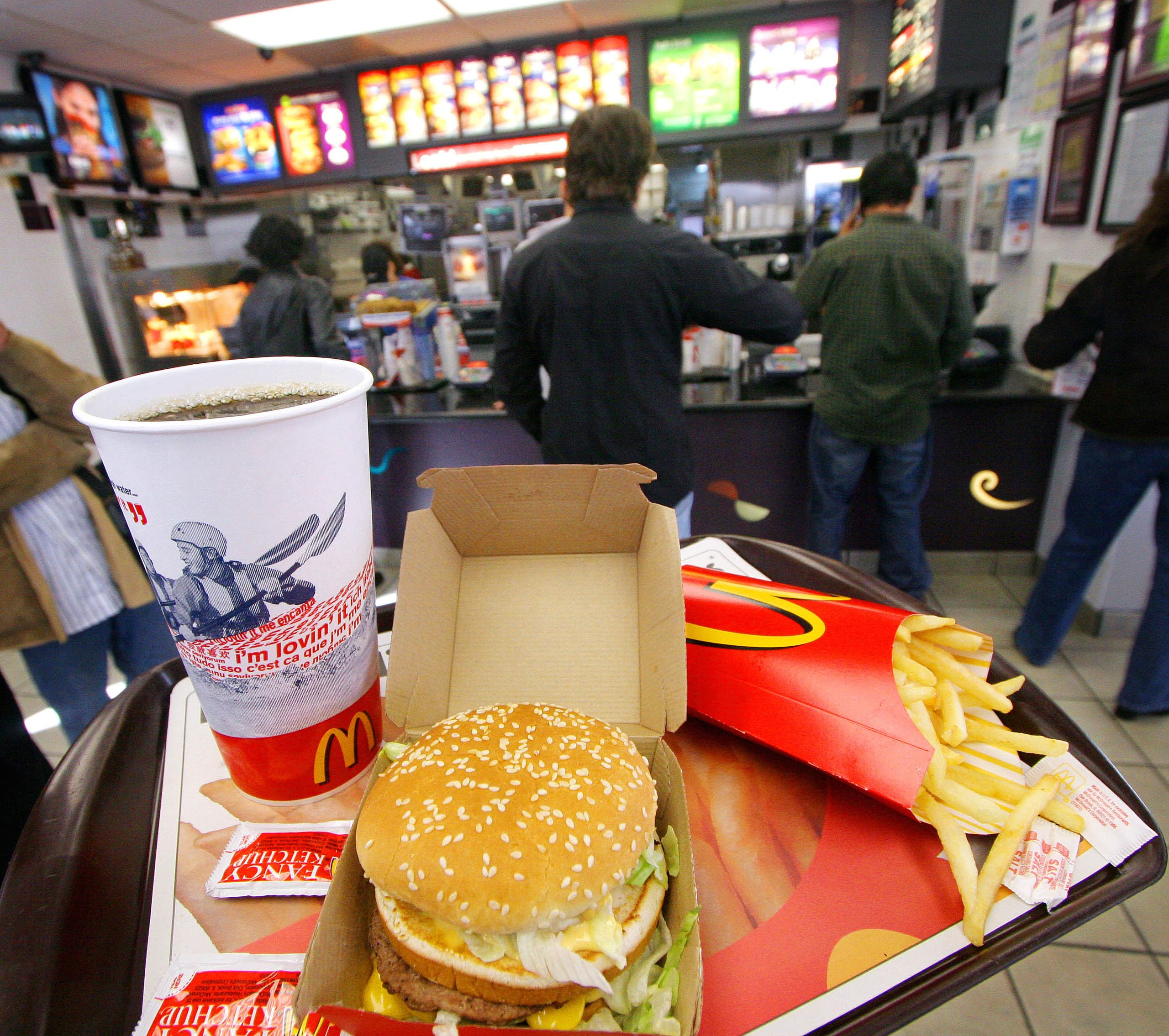 A Big Mac, Coke and fries are shown at a McDonald's  (File photo AP)