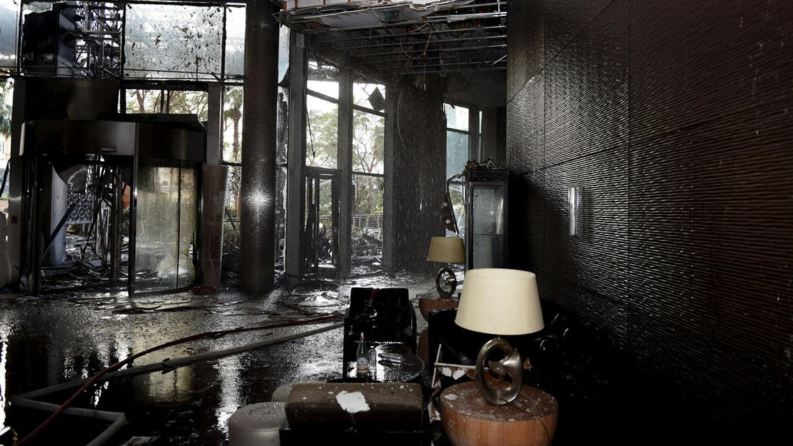 View shows the damage at the interior of Address Downtown Dubai hotel and residential block, which was hit by a blaze during New Year celebrations, in Dubai. (Reuters)