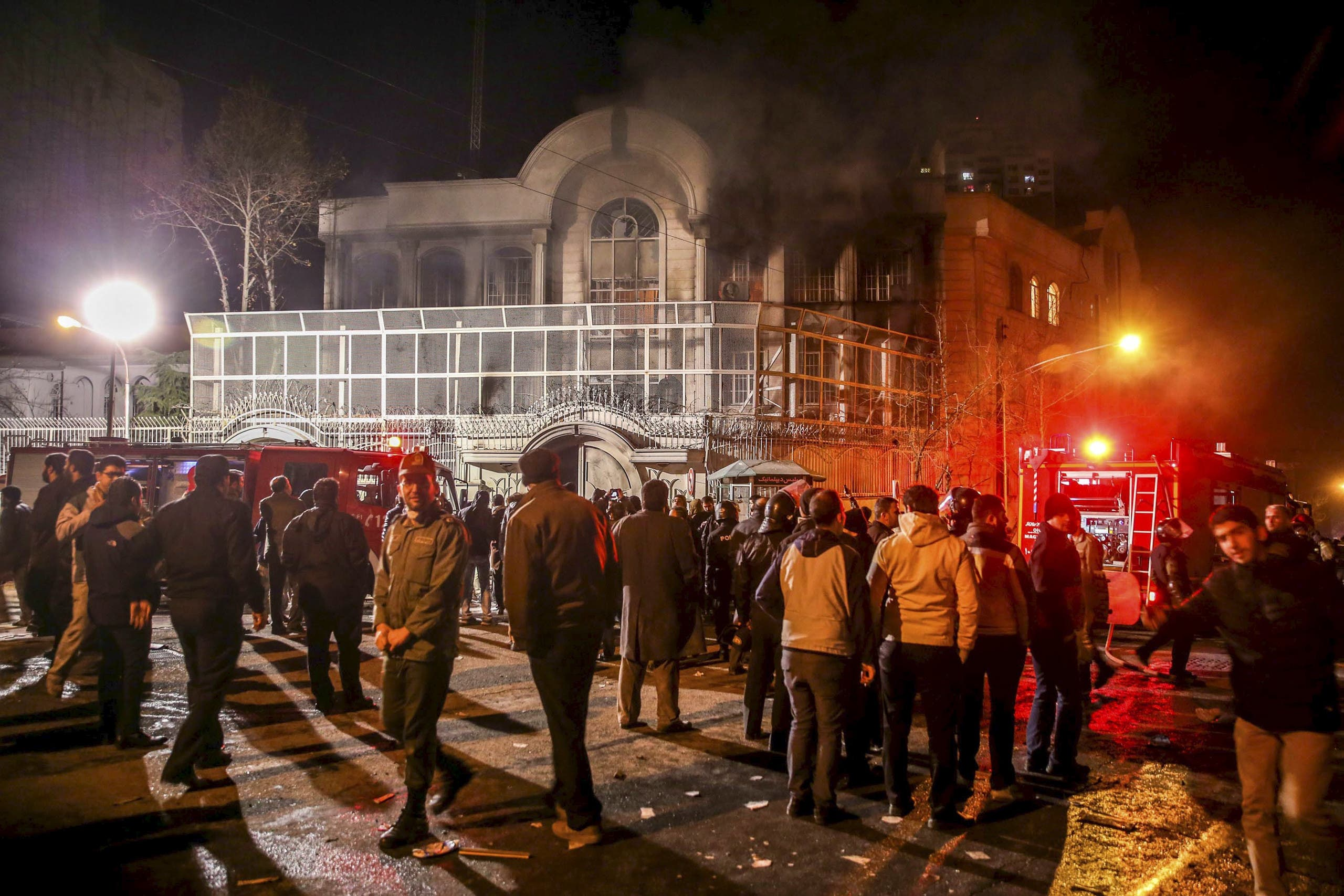 Smoke rises from Saudi Arabia's embassy during a demonstration in Tehran January 2, 2016.  REUTERS