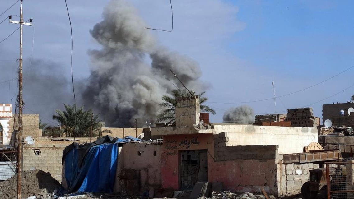 In this Monday, Jan. 4, 2016 photo, smoke rises from Islamic State positions following a U.S.-led coalition airstrike in Ramadi, 70 miles (115 kilometers) west of Baghdad, Iraq. Islamic State had captured Ramadi in May, in one of its biggest advances since the U.S.-led coalition began striking the group in 2014. Recapturing the city, which is the provincial capital of Anbar, provided a major morale boost for Iraqi forces. (AP Photo)