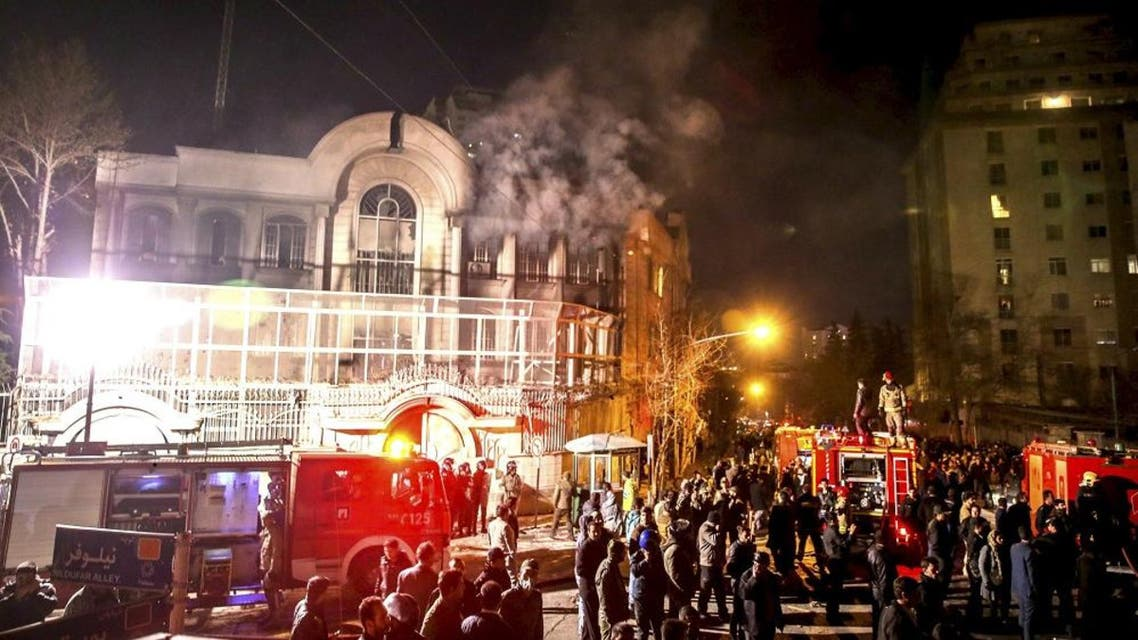 Flames rise from Saudi Arabia's embassy during a demonstration in Tehran January 2, 2016.Iranian protesters stormed the Saudi Embassy in Tehran early on Sunday morning as Shi'ite Muslim Iran reacted with fury to Saudi Arabia's execution of a prominent Shi'ite cleric. REUTERS/TIMA/Mehdi Ghasemi/ISNA
