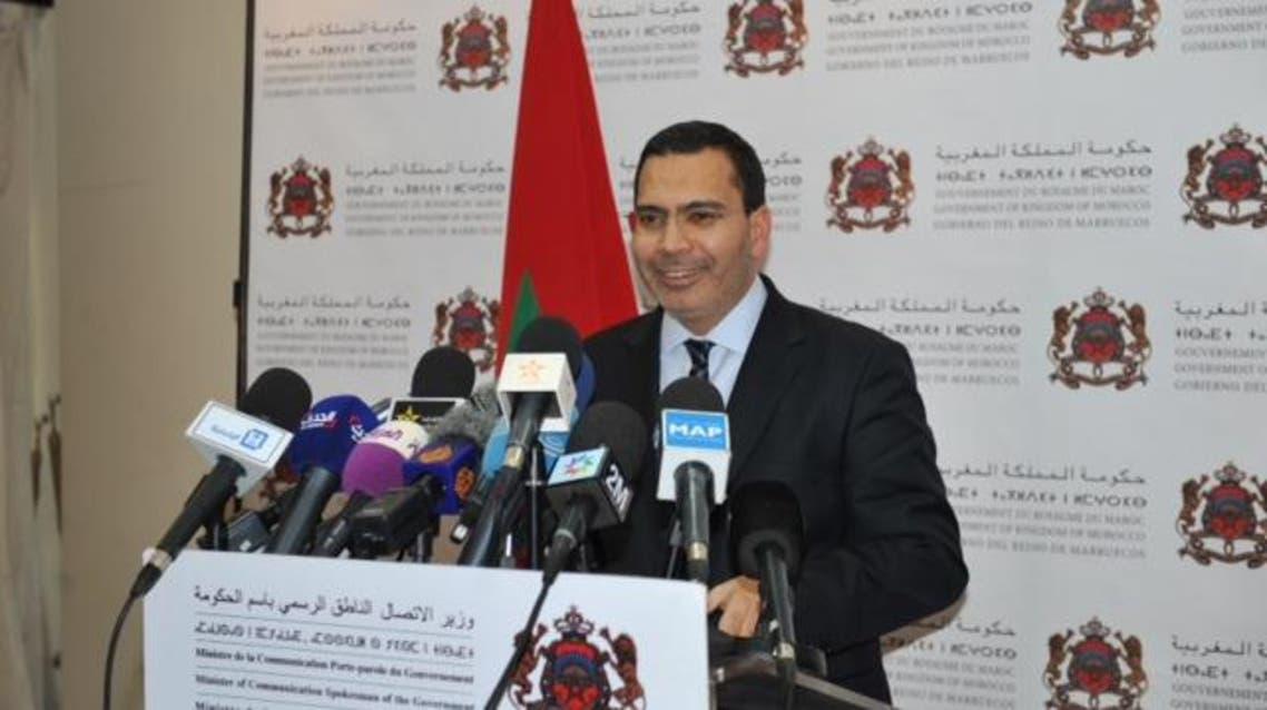 مصطفى الخلفي وزير الاتصال المغربي في ندوته الصحفية في الرباط