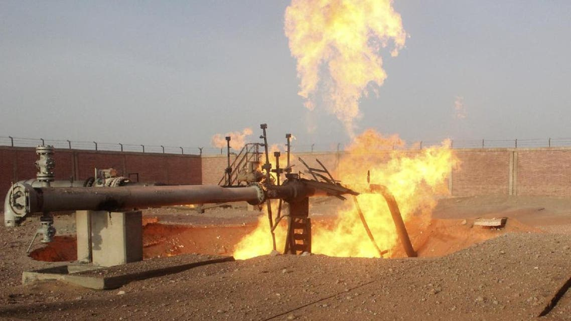 A part of a gas pipeline is seen on fire near the northern city of al-Arish April 27, 2011. (Reuters)