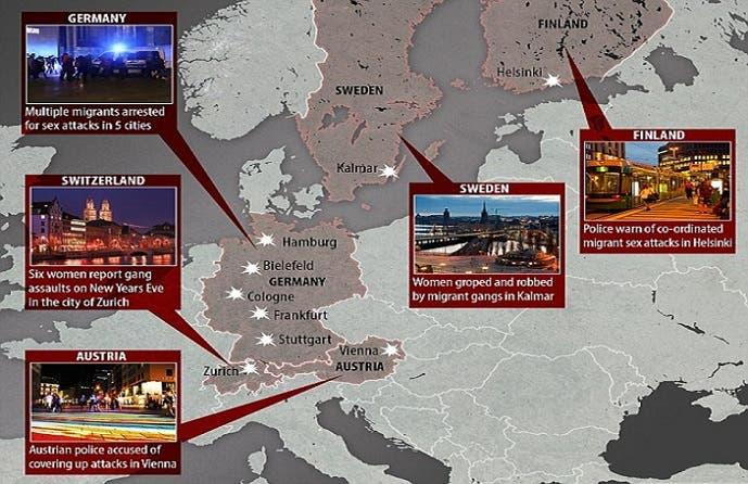 خارطة الاعتداءات الجنسية في عدد من العواصم والمدن الأوروبية، تناقلتها معظم وسائل الإعلام