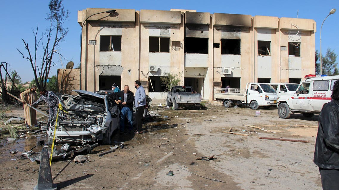 A general view shows the damage at the scene of an explosion at the Police Training Centre in the town of Zliten, Libya, January 7, 2016. reuters