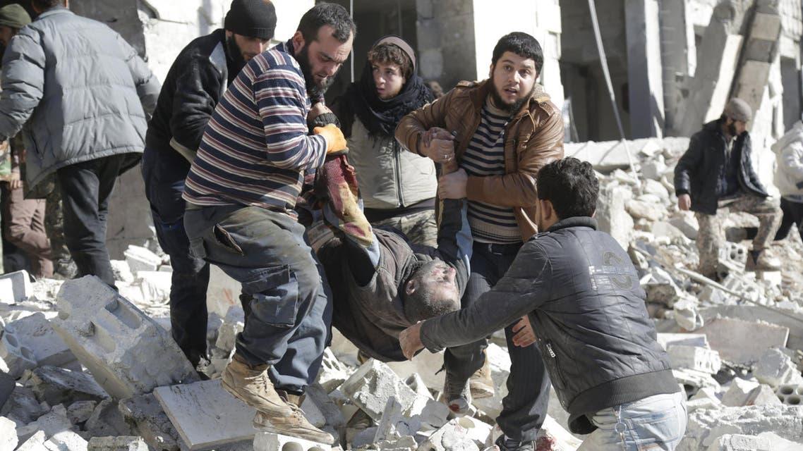 القصف الروسيعلى معرة النعمان في ادلب