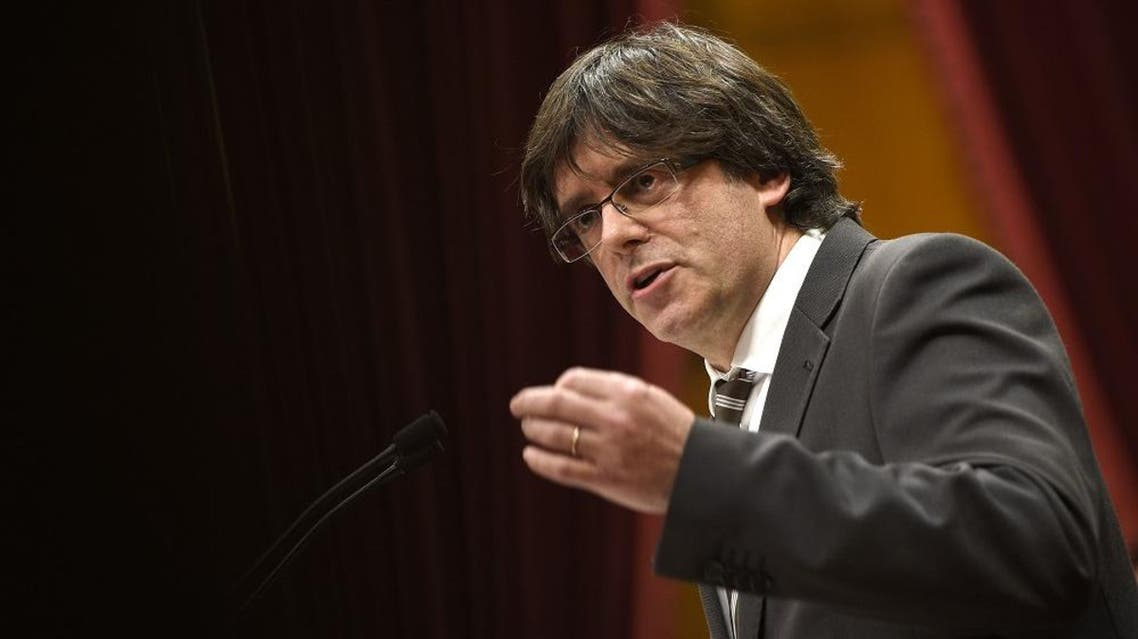 Current mayor of Gerona and candidate for the Catalan Government's presidency Carles Puigdemont speaks during an investiture debate for the Catalan Government's presidency, at the Parliament of Catalonia in Barcelona on January 10, 2016 (AFP)