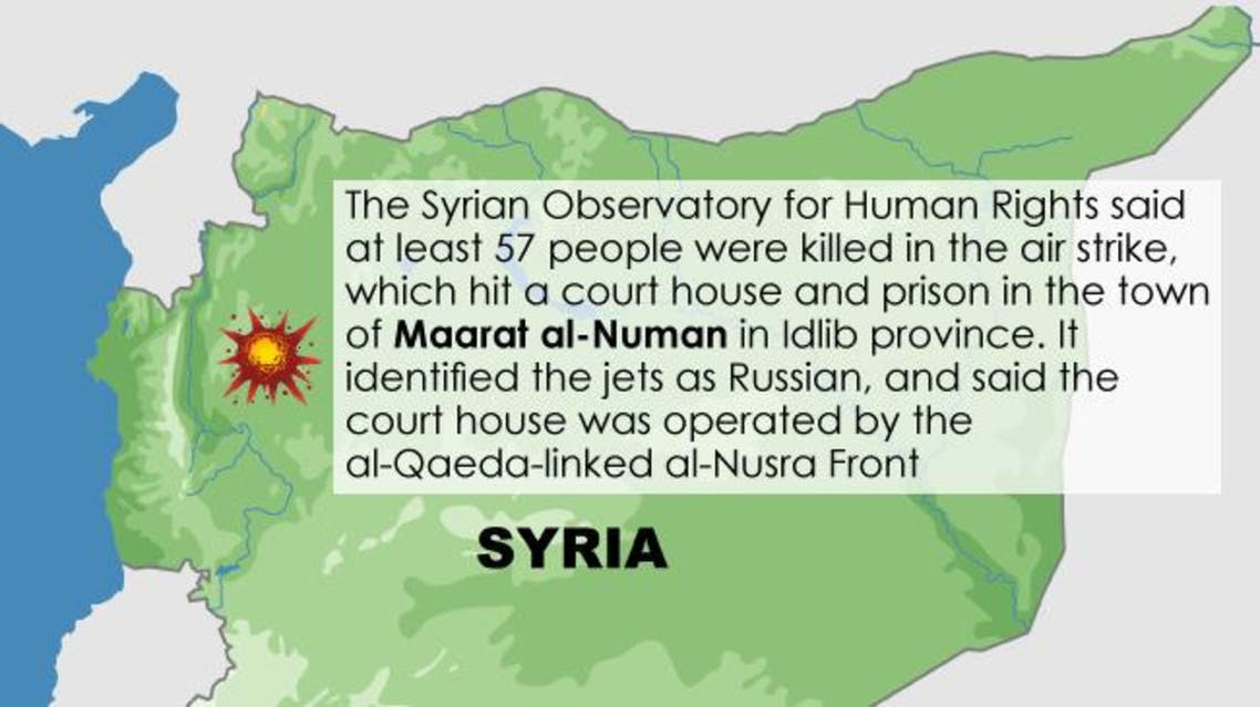 Infographic: Air strike kills dozens in Syria rebel-held town