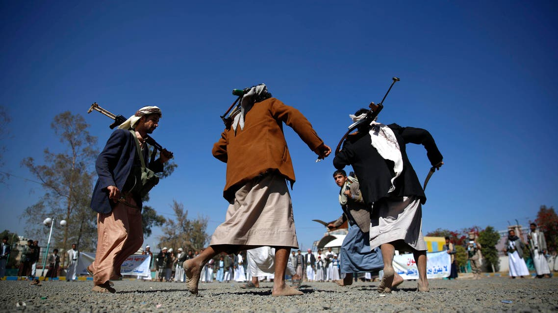 Shiite fighters, known as Houthis, perform a traditional dance during a tribal gathering showing support for the Houthi movement in Sanaa, Yemen, Thursday, Dec. 10, 2015. (AP)