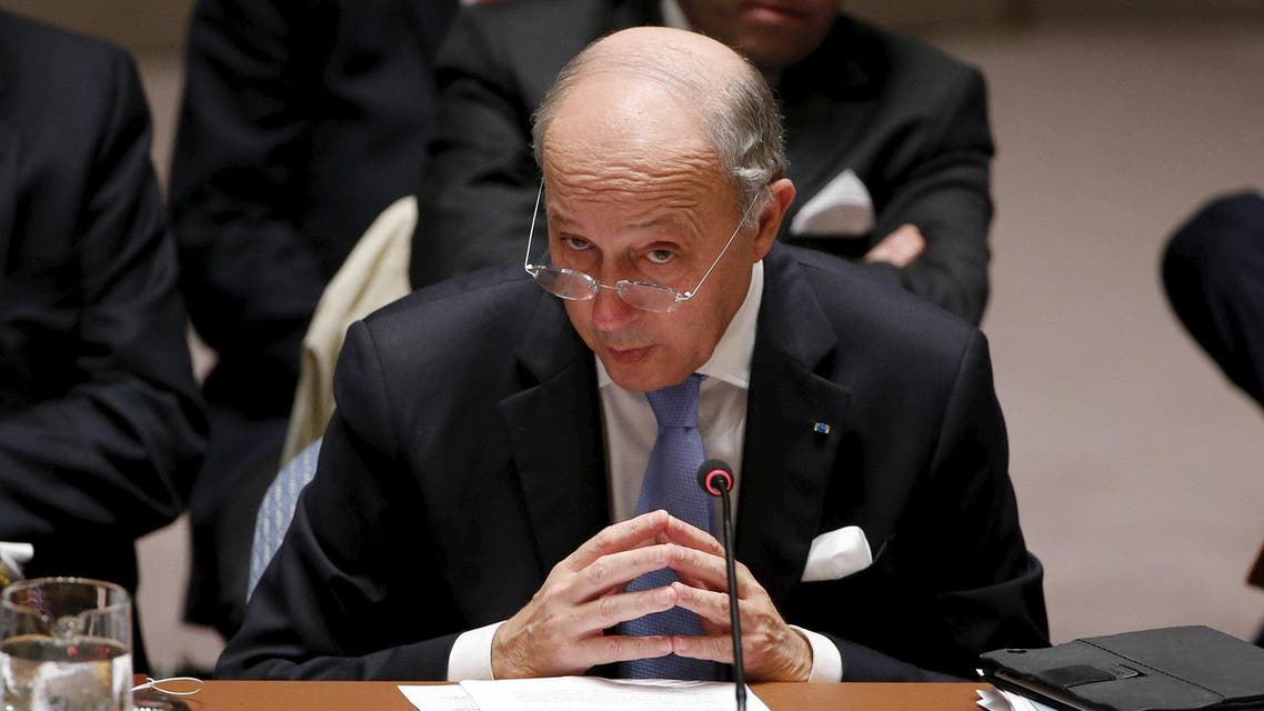 French Foreign Minister Laurent Fabius speaks to members of the Security Council at the United Nations Headquarters in Manhattan, New York, December 18, 2015. The United Nations Security Council on Friday unanimously agreed a resolution endorsing an international roadmap for a Syria peace process, a rare show of unity among major powers on a conflict that has claimed more than a quarter million lives