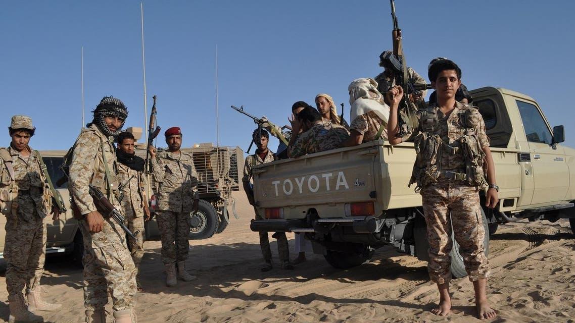 Yemeni soldiers loyal to exiled Yemeni President Abed Rabbo Mansour Hadi visit a United Arab Emirates military base near Saffer, Yemen. (File photo: AP)
