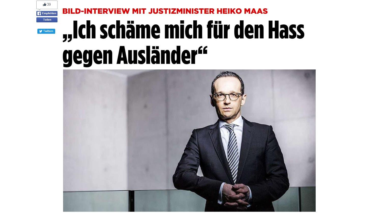 وزير العدل الألماني، هايكو ماس، صرح بأنه يشعر بالخجل من كراهية الأجانب