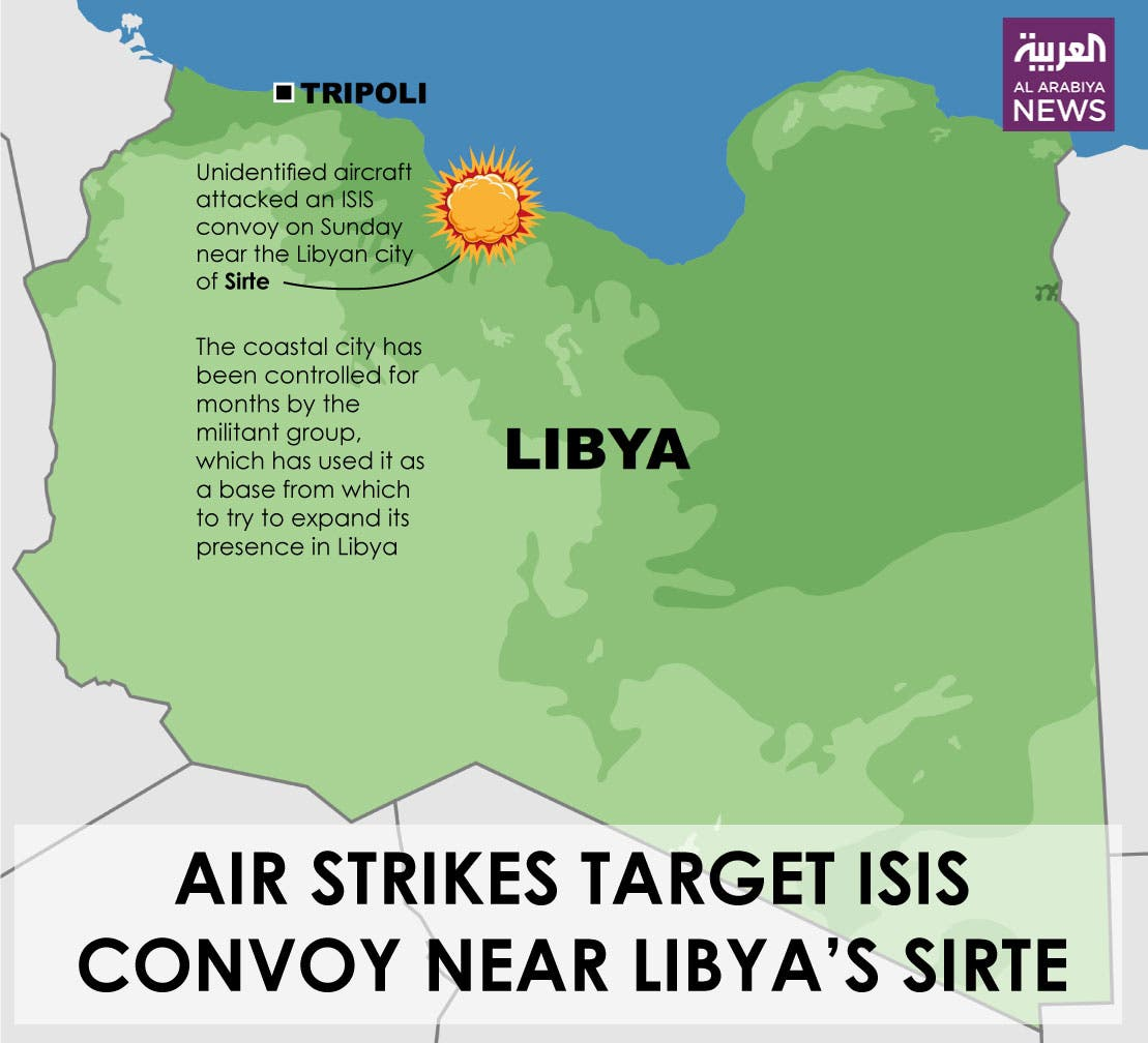Infographic: Air strikes target ISIS convoy near Libya's Sirte