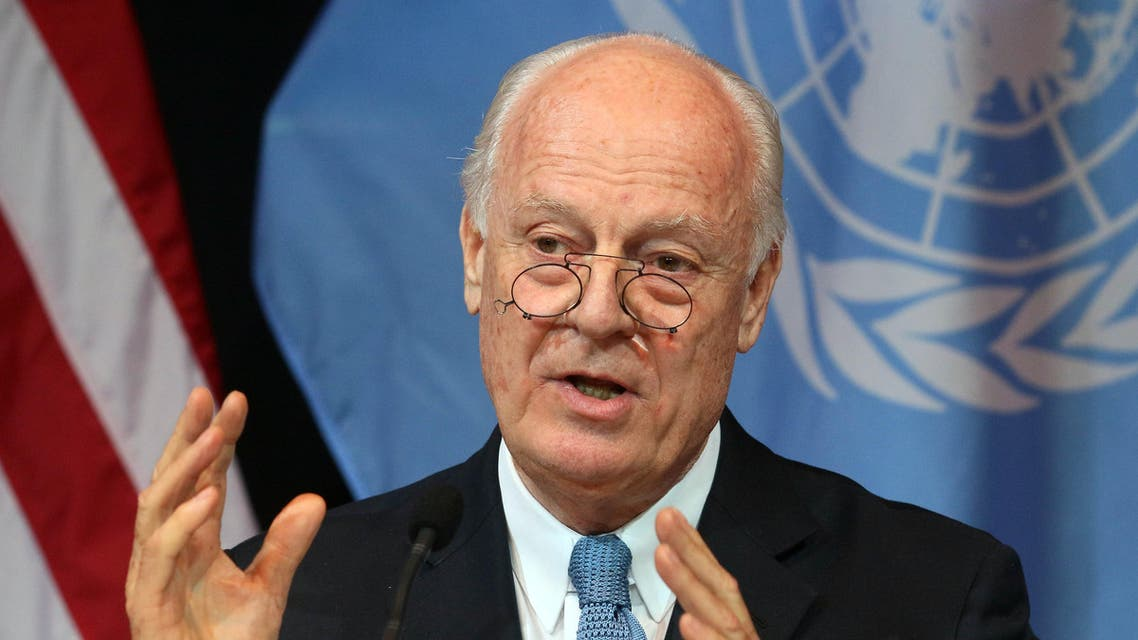 UN Special Envoy for Syria Staffan de Mistura speaks during a news conference in Vienna, Austria, Saturday, Nov. 14, 2015. Foreign ministers from more than a dozen nations met in Vienna seeking to find a way to resolve the conflict in Syria. (AP Photo/Ronald Zak)