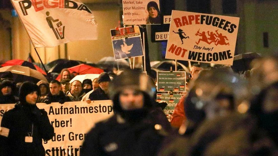 Members of LEGIDA, the Leipzig arm of the anti-Islam movement PEGIDA, take part in a rally in Leipzig. (Reuters)