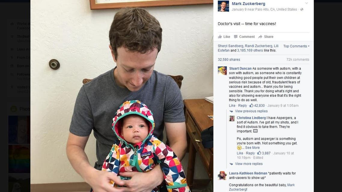 """Zuckerberg, followed by more than 48 million on his social media platform, sparked an outcry in February of last year after endorsing the non-fiction book """"On Immunity,"""" which explores the vaccination debate in America (Facebook screenshot/ March Zuckerberg)"""