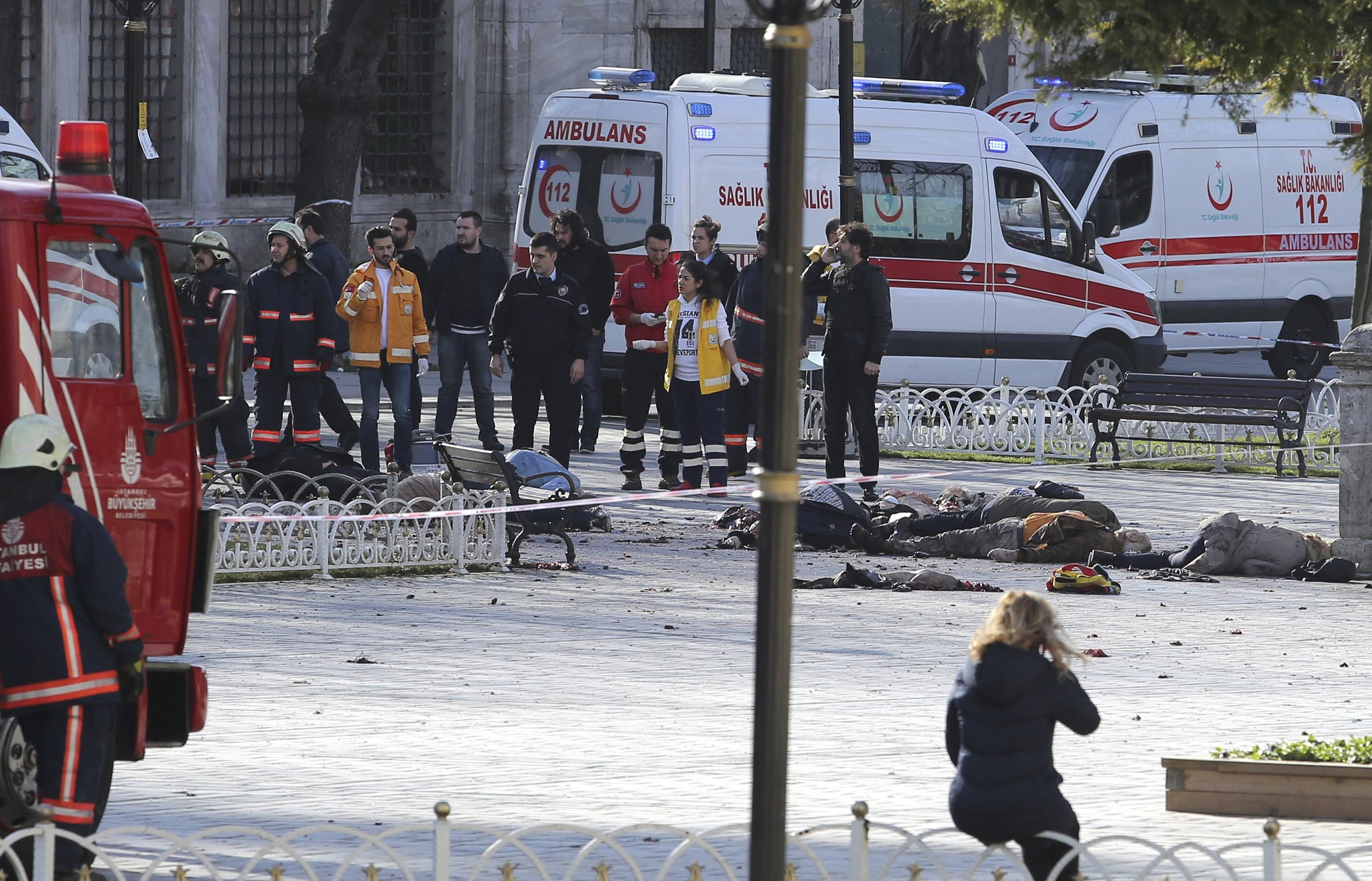 Rescue teams gather at the scene after an explosion in central Istanbul. (Reuters)