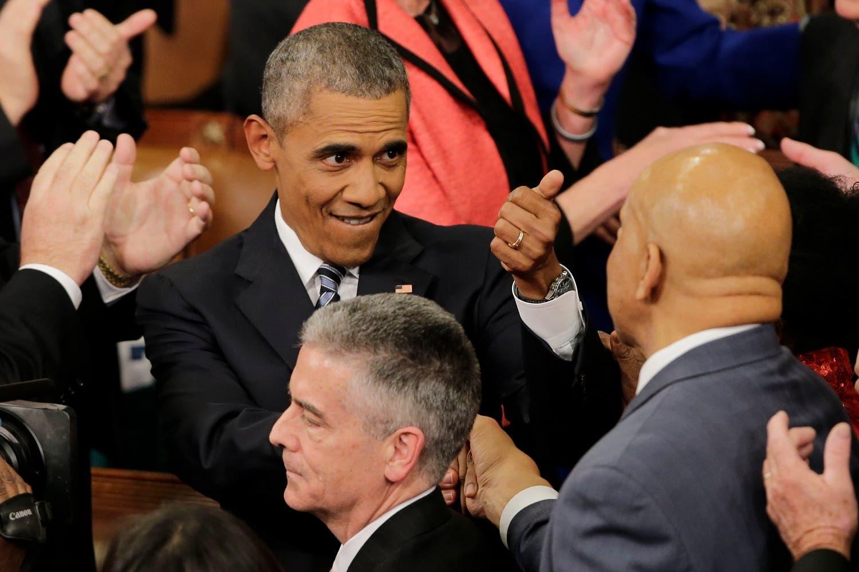 President Barack Obama gestures as he arrives on Capitol Hill in Washington. (AP)