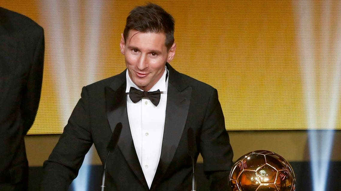 FC Barcelona's Messi receives FIFA Ballon d'Or 2015 during awards ceremony in Zurich. (Reuters)