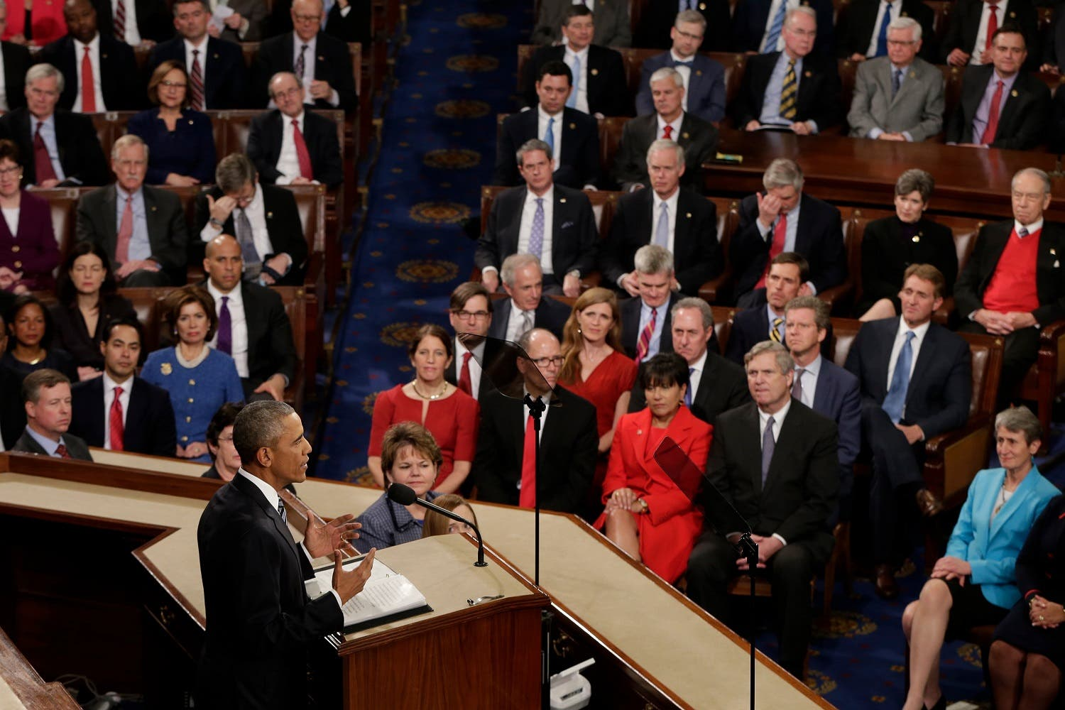 President Barack Obama gives his State of the Union address before a joint session of Congress on Capitol Hill in Washington. (AP)