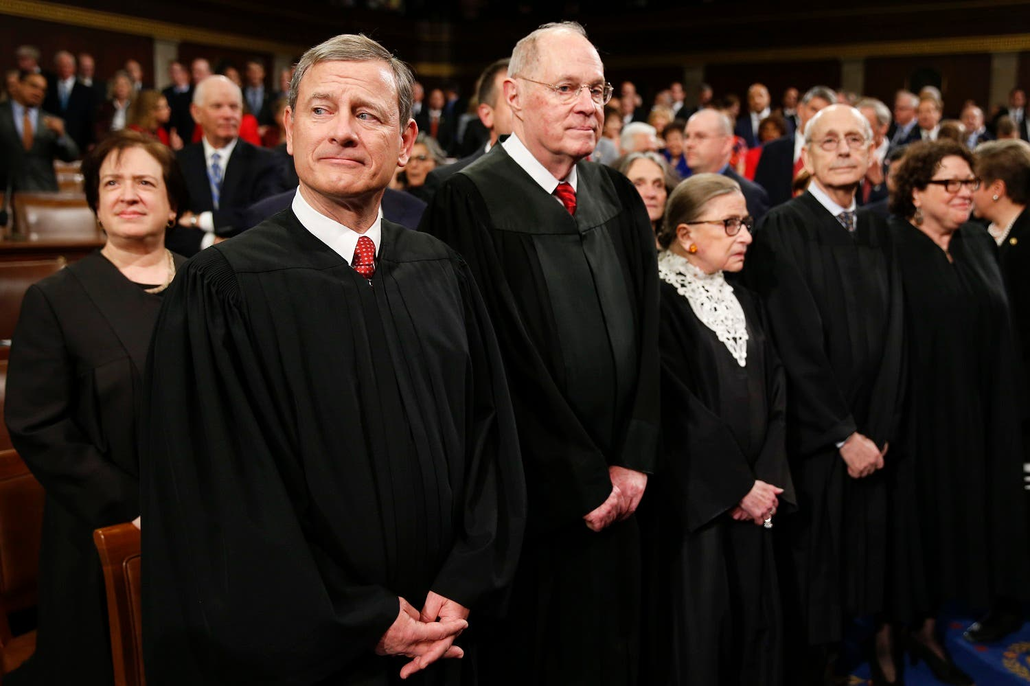 Supreme Court Justice Elena Kagan, from left, Chief Justice John Roberts, Justice Anthony Kennedy, Justice Ruth Bader Ginsburg. (AP)