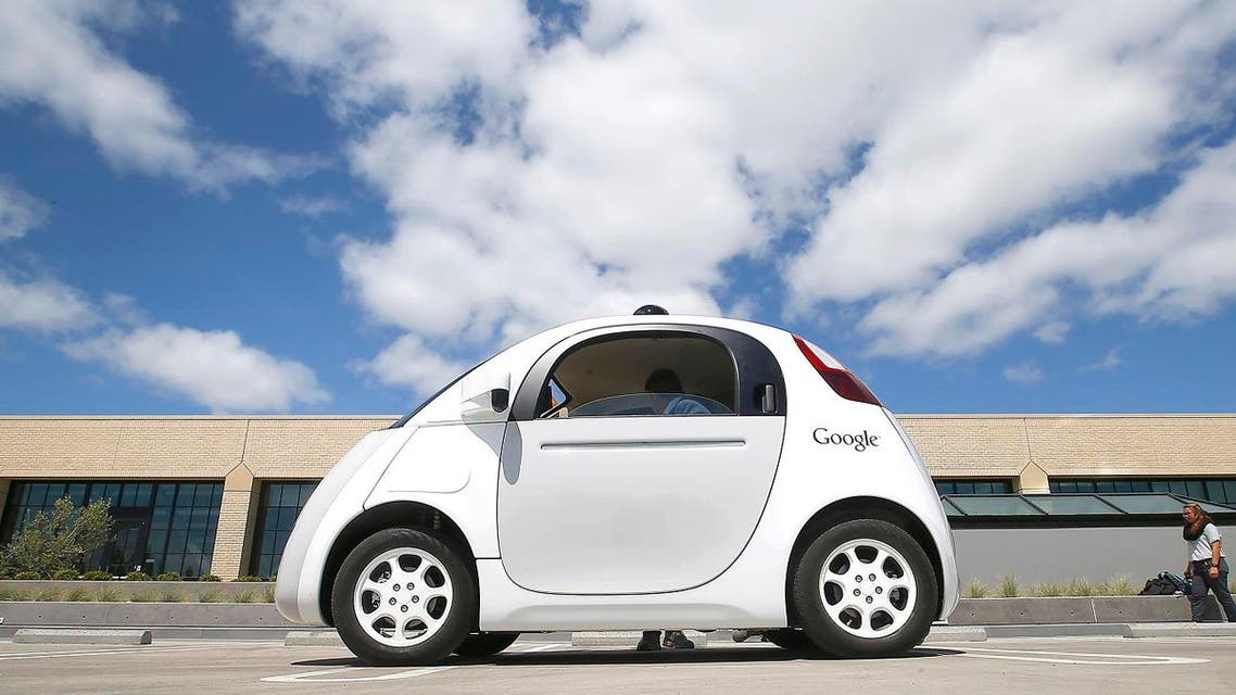 Google's new self-driving prototype car is presented during a demonstration at the Google campus in Mountain View, Calif. (AP)