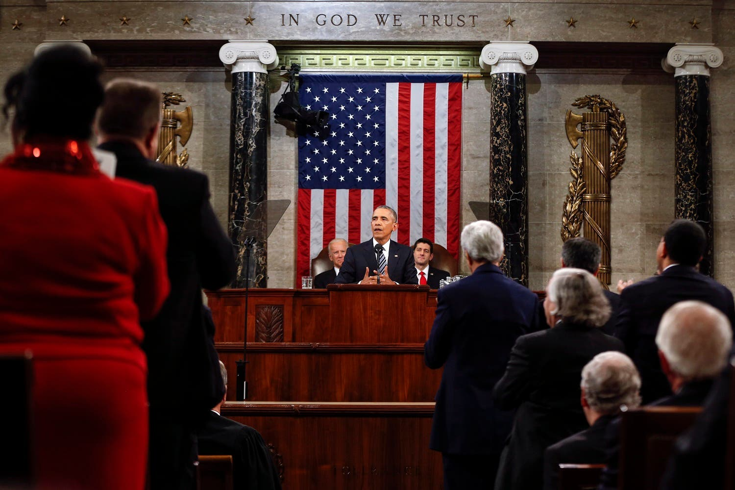 President Barack Obama delivers his State of the Union address to a joint session of Congress on Capitol Hill in Washington. (AP)