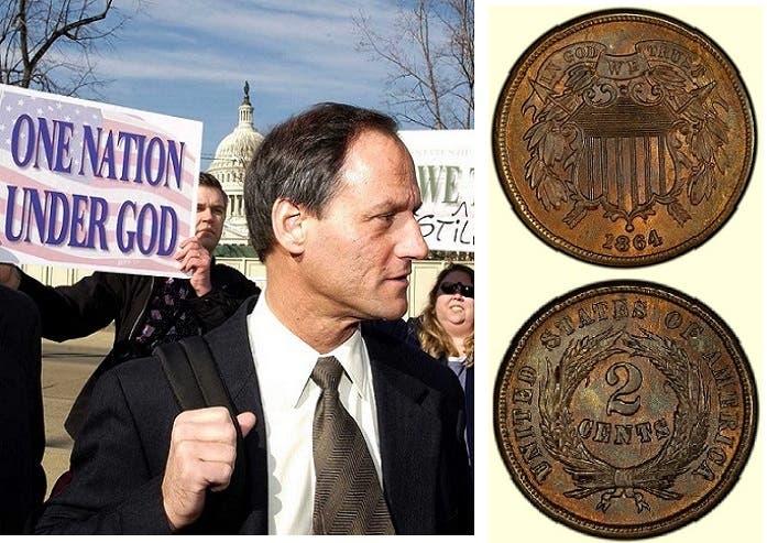 أول نقد معدني أميركي نقشوا عليه العبارة، وصورة للمحامي نيوداو المطالب بعملة خالية منها