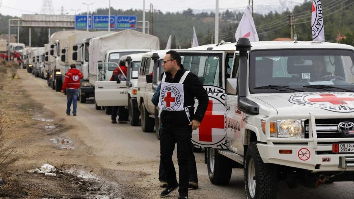 An International Committee of the Red Cross convoy heads to the besieged Syrian town of Madaya, on January 11, 2016, to delievr food to starving communities (AFP)